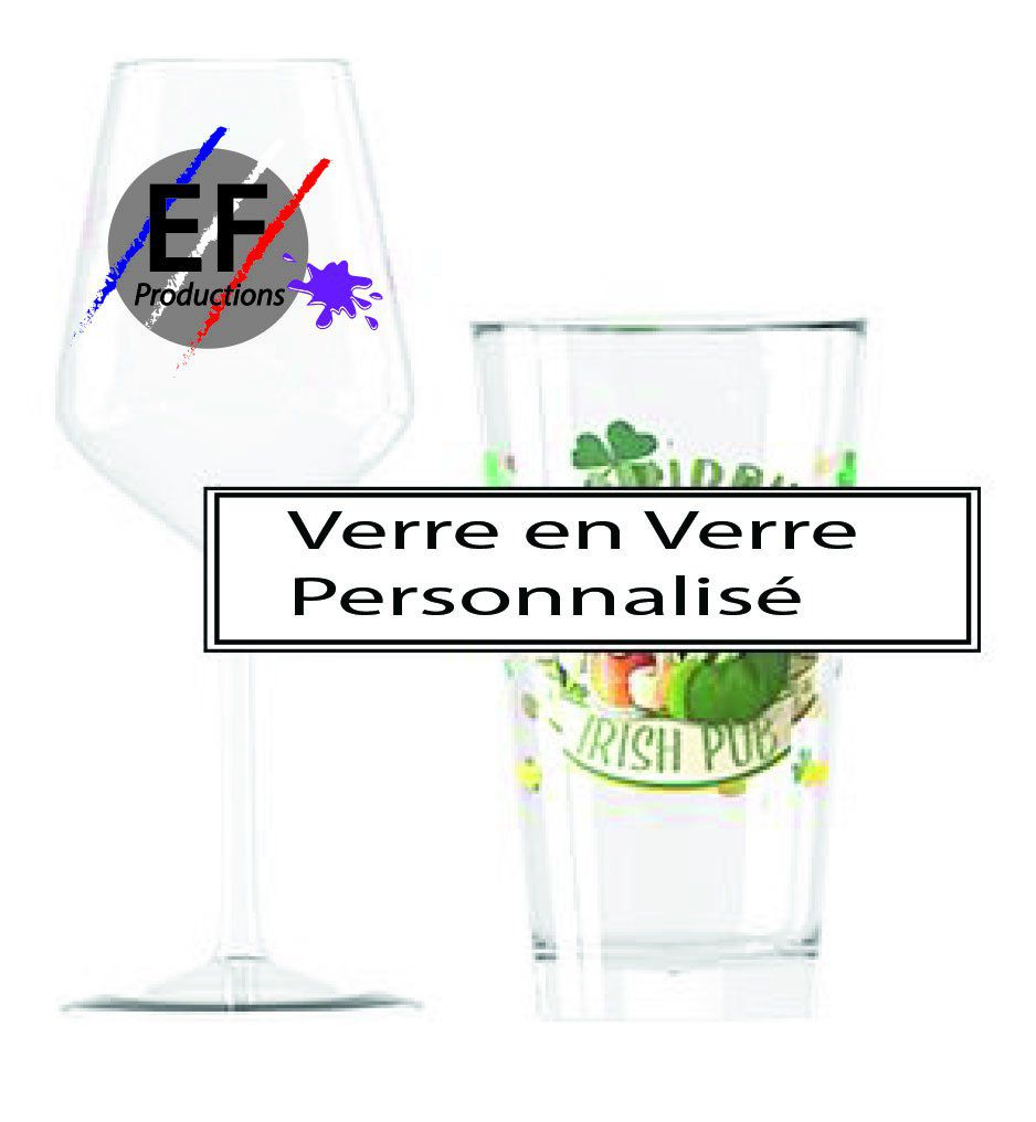 VERRE en VERRE PERSONNALISABLE Impression QUADRI Digitale